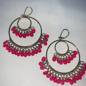 AVON Bright Chandelier Hoop Earrings in Pink. NIB.